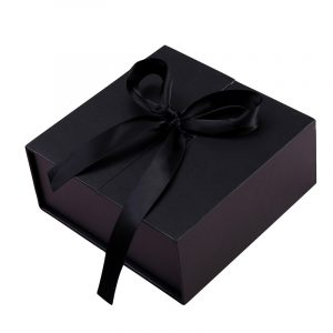 Black & White Double Door High-End Gift Boxes With Ribbon
