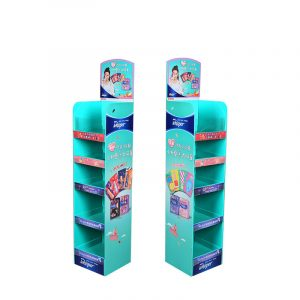 Custom POP Cardboard Floor Display Stand Eco-friendly With Different Header Cards 3