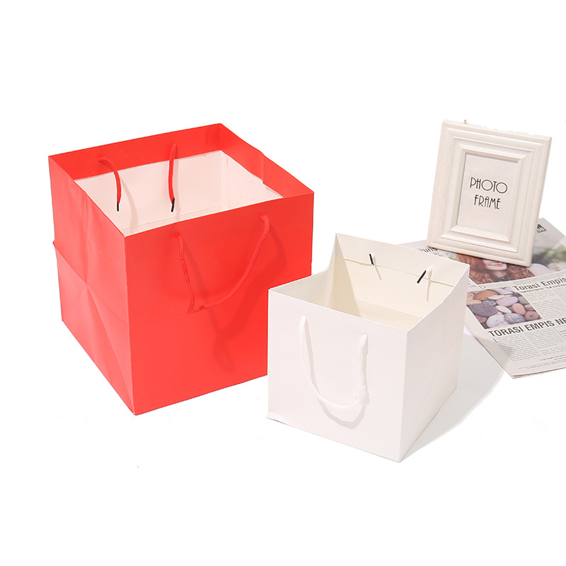 Square Paper Gift Shopping Handle Bags for Package